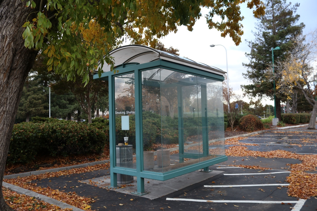 The image shows a smoking shelter in a parking lot.  The shelter looks like a bus shelter, it's plexiglass on three sides, with a dome roof and a wooden bench inside.  It has an overflowing trash can next to it, and is surrounded by a slick parking lot.  Leaves are littered on the ground.
