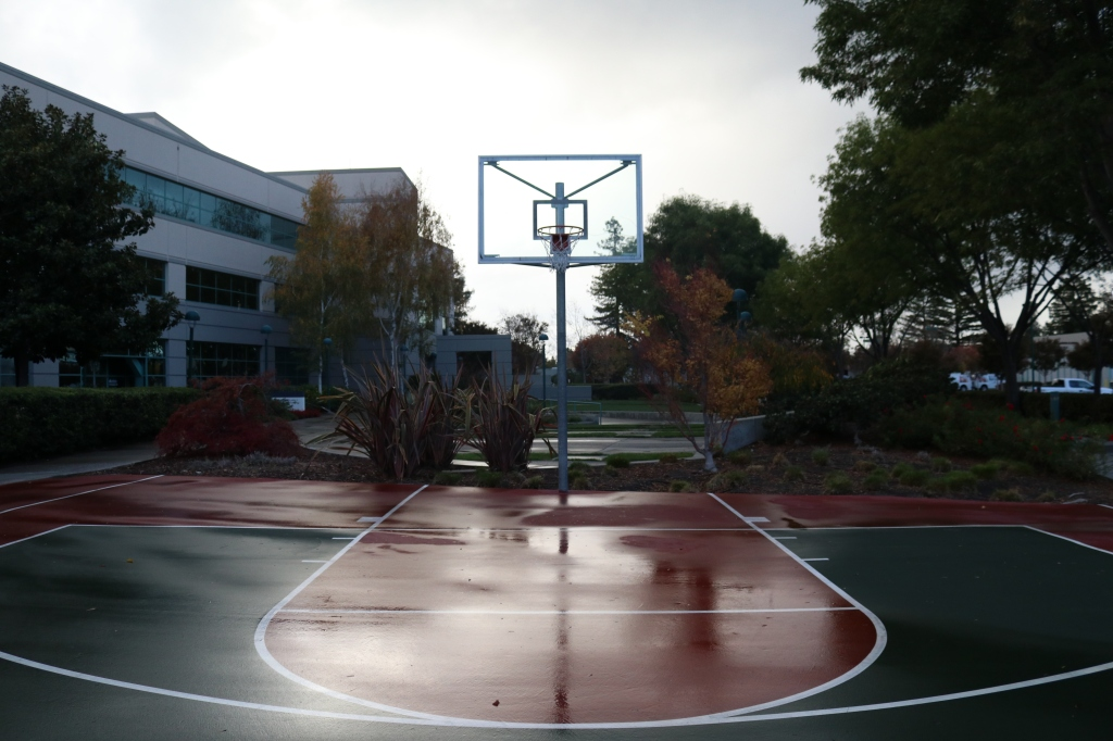 A half basketball court is slick and shiny with rain.  The court is dark green and dark red, with a basketball hoop in the center of the image.  In the background are trees and a large office building.
